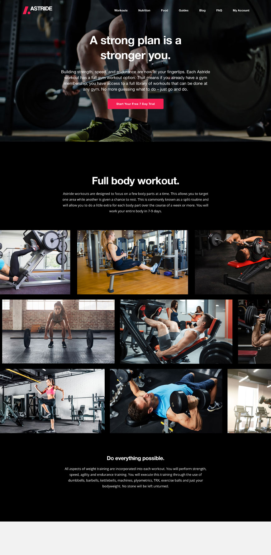 Astride Website Gym Workouts Page