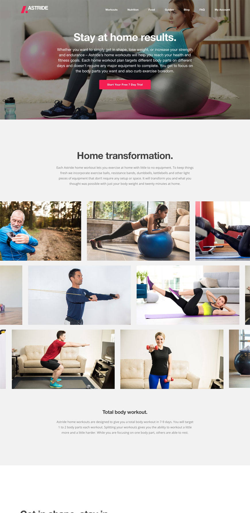 Astride Website Home Workouts Page