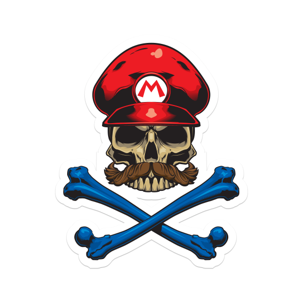 Red Crossbones Sticker